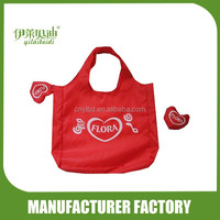 190T Polyester Heart Shaped Folding Shopping Bag