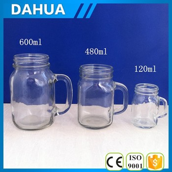 Different sizes glass mason jars with handle