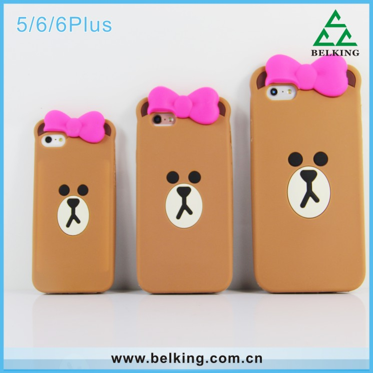 Cartoon Animal Cute Brown Bear Soft Silicone Case For iphone 5 5s 5c/ 6 4.7 inch /6plus 5.5inch 6s/ 6s plus Smartphone Cover