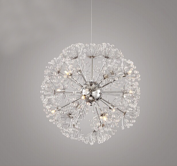crystal dandelion led pendant lamp