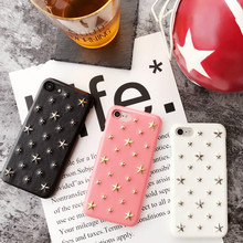 3D Stars Rivet PC Hard Case Imitation Leather Funky Mobile Phone Case for iPhone 7