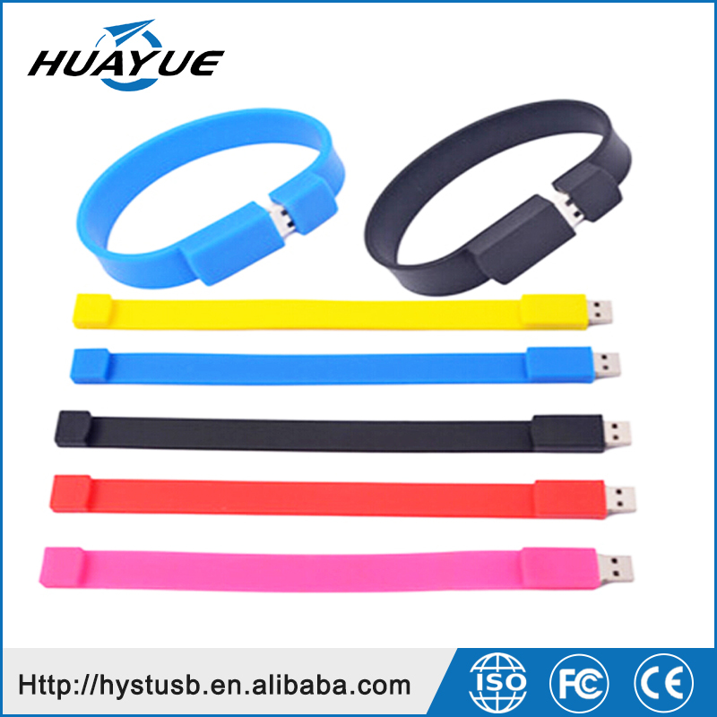 Shenzhen Wholesale Bracelet Shape Wristband USB Flash Drives USB 2.0 Silicone Pendrive for Cheap Gift