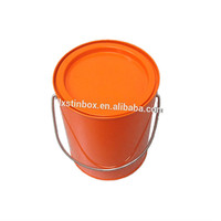 4C printing round empty metal tin paint bucket with lid