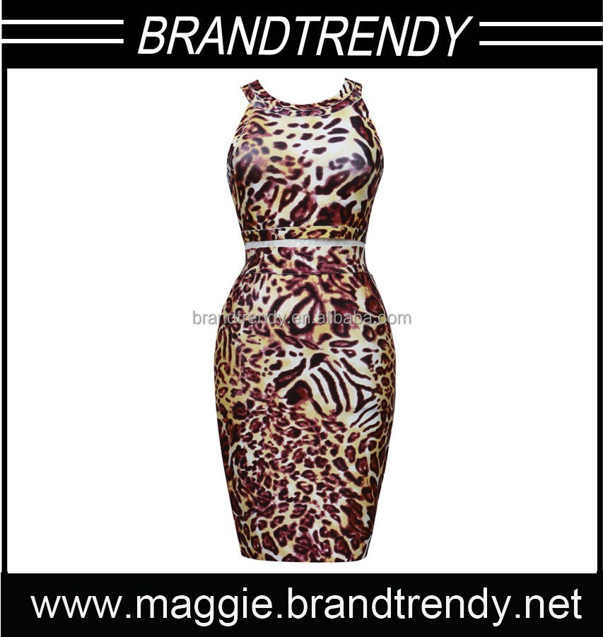 New Sexy Bandage Dress Leopard Vestidos De Fiesta Bandage Dress Disco Bodycon Evening Woman And Girl Party Dress Cutting
