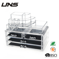 Factory OEM wholesale cosmetic 4 drawer acrylic makeup organizer Storage with Drawers