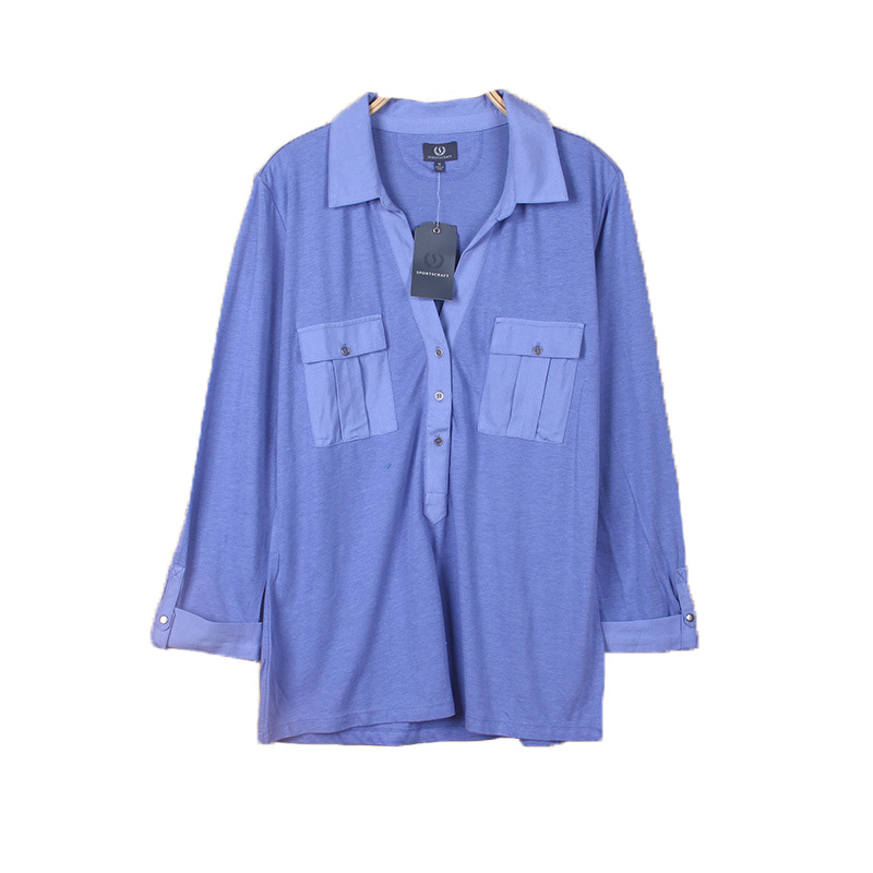 stocklot blue women v neck overseas chinese collar ladies casual t shirts
