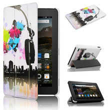 "Ultra Slim PU Leather Magnetic Case Cover for Kindle Fire 7 7"" Tablet (Only Fit 5th Fifth Generation 2015 Release Ge"