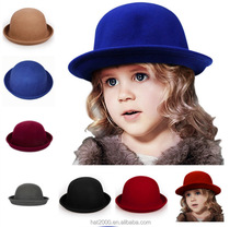 Fashion Kids Children Girls Wool Felt Trendy Round Top Bowler Derby Hat Warm Lovely Casual Cap