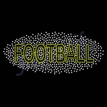 Bling Yellow Football Hot Fix Rhinestone Transfer for Footwear