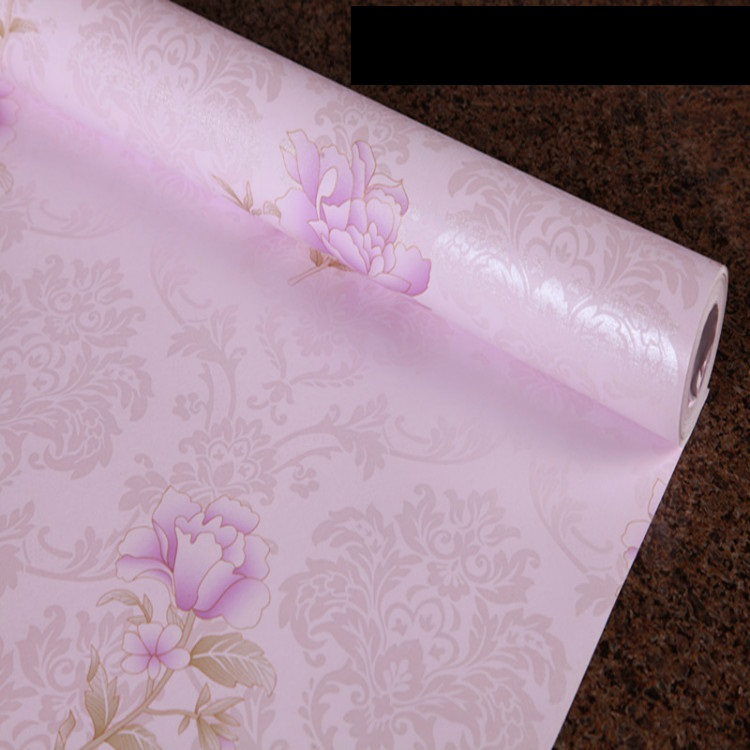 Self adhesive PVC vinyl floral wall paper girl's room wallpaper for home decoration
