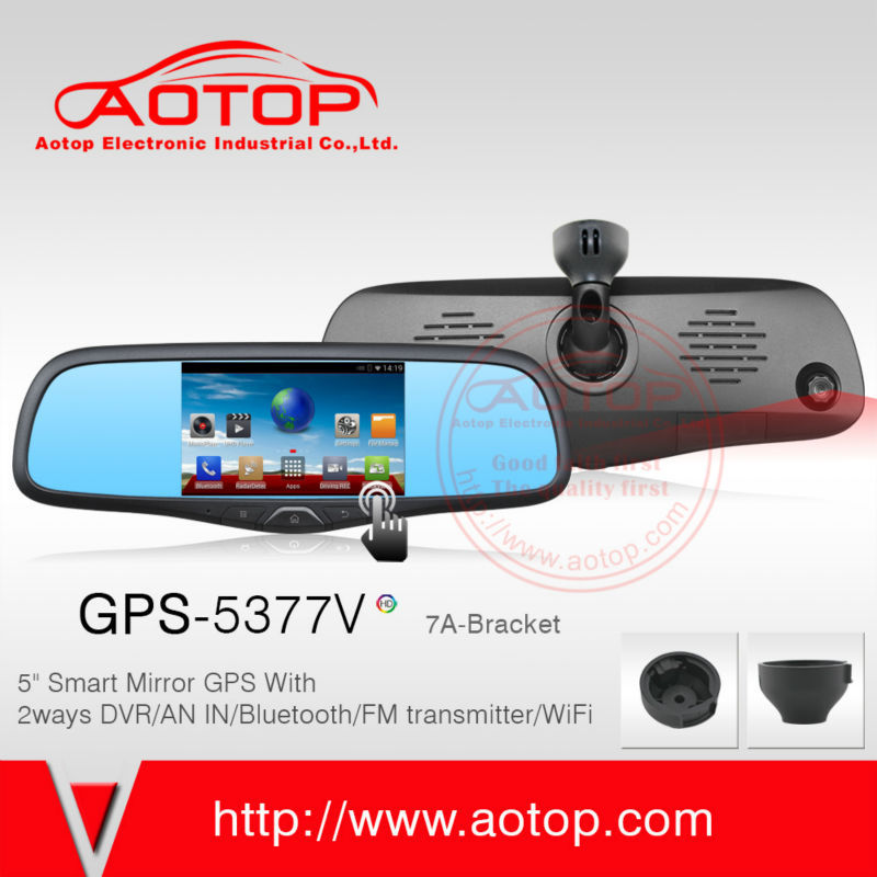 rearview mirror for fiat punto car gps with dvr android system 5 inch screen car dvr dual camera gps