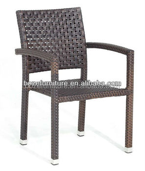 Hot sales aluminum rattan chair outdoor stacking wicker dining chair