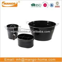 Black painting galvanized steel metal storage ice bucket with scoop with lid