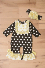 wholesale black and white polka dots baby long pants ruffle romper