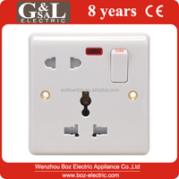 1 gang 16A wall socket with neon/13A Mulfi Function Switched socket with light Hot sale Wall Switch, British Standard