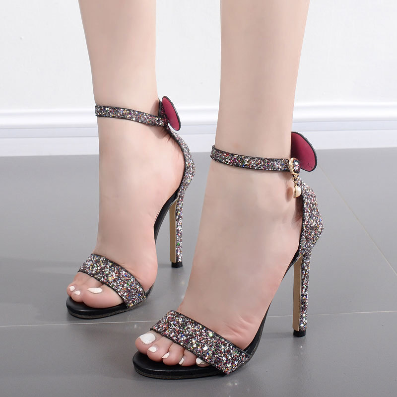 X62060A Lace-up Woman Superstar Diamond Thin Heels Ladies Summer Sandals