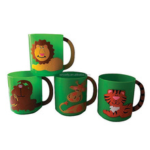 8 oz. 230ml Colorful Kids Party Cups with Handle Personalized Hard Plastic Zoo Animal Mugs Wholesale