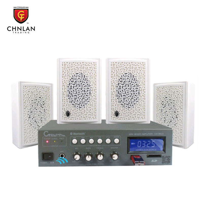 Chnlan 4 pieces wall speaker + bluetooth amplifier background music cheap home theater pa system