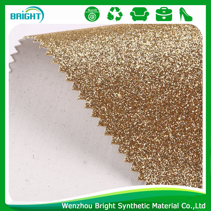 1.0mm thickness gold color glitter leatherette shiny bright color wholesale pu leather