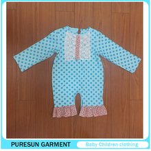 Good Selling Boutique Baby girl Lace Trim Clothes Set Toddler Long Sleeve Polka Dots Ruffle Floral Rompers