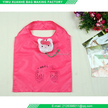 Cute cartoon environmental folding polyester shopping bag with hang buckle wholesale