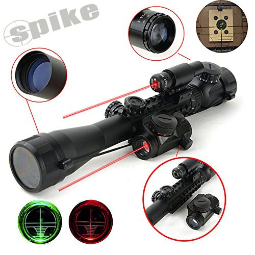 SPIKE Tactical C3-9x40mm riflescope dual illuminated rifle scope with red laser & red dot sight red dot scope