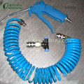 Blue Plastic Air Gun with Blue PU coiled pipe hose with quick coupler