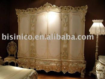 luxury european style bedroom set, dresser and mirror, wardrobe