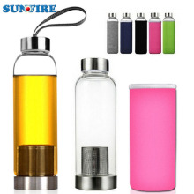 Miu Color Printed Hand Blown Subzero Target Strap Borosilicate Glass Water Bottle with Neoprene Sleeve