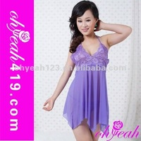 2014Wholesale nice elegant full colors new design sexy purple lady adult lingerie