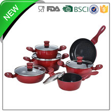 red color porcelain coated cast iron cookware