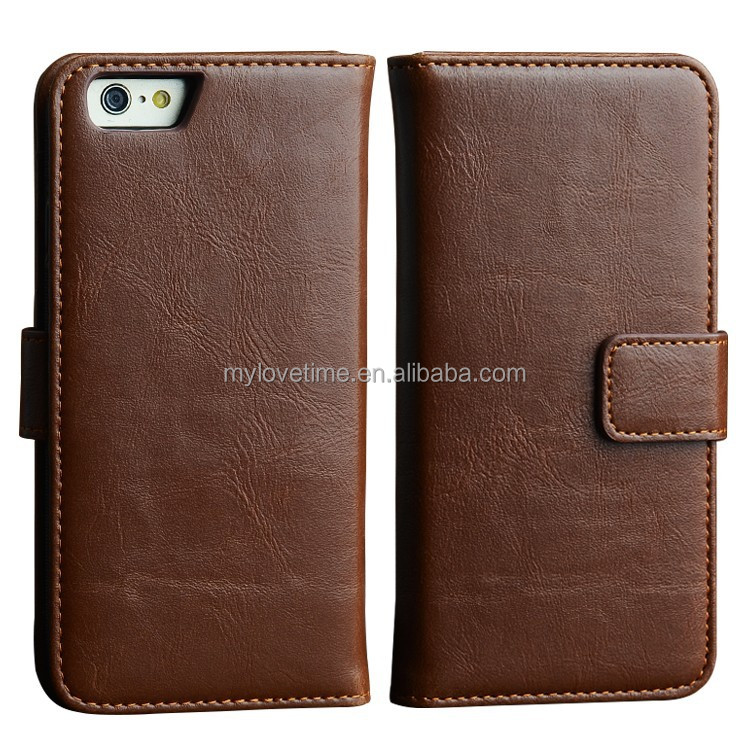 Brown classy pu leather flip cover with detachable back case for iphone 6
