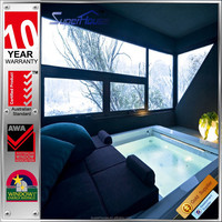 Australian standard as2047 Aluminium heat resistant double glazed tempered glass built-in windows with blinds