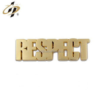 Fashion custom gold cut out letter logo metal name badges
