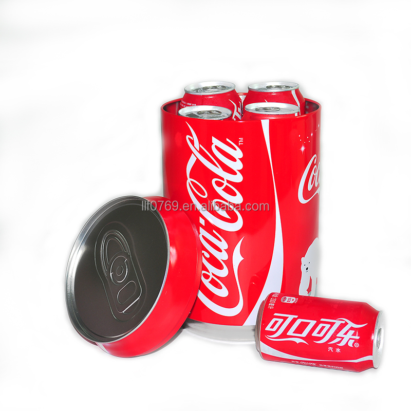 promotion gift tin box packing 6 pcs soda drinks coke tin can