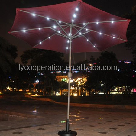9-10ft Patio solar umbrella charger led light with crank