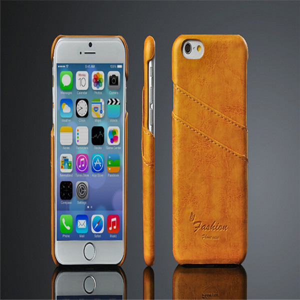 Fashion Double Card Holder Leather Skin Cell Phone Case For Apple iPhone 6 6G