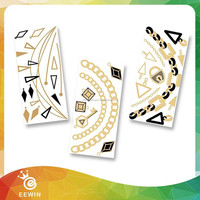 T3P003 New Butterfly Design Golden and Sliver Henna Temporary Tattoo Sticker,flash tattoo