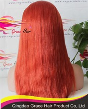 Grace hair Virgin human hair glueless full lace wig light red hair wig