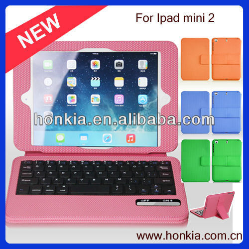 Hot!!!Tablet PC accessories , Wireless tablet pc Bluetooth Keyboard case For ipad mini 2