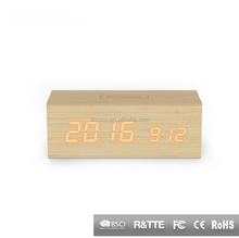 Decorative LED Alarm Clock Temperature Sounds Control display electronic desktop Digital Wooden Table Stand Clock