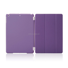 Purple color smart leather cover case shell for ipad mini Retina with clear PC shell