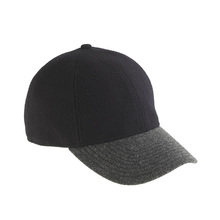 Fashionable Black Wool Baseball Cap Wide Brim Baseball Hat