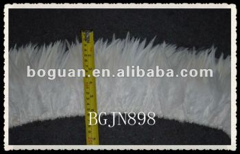 "6-7"" Wholesale white saddle rooster tail feather"