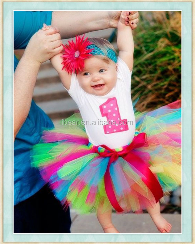 Baby Girl infant NO.1 Appliqued Short Sleeved White Top Colorful Tutu Dress For 1st birthday photo