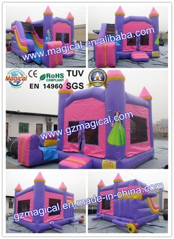 Pink princess inflatable bouncy combo jumper