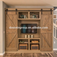 Popular K type double slabs solid wood barn door for wide opennings