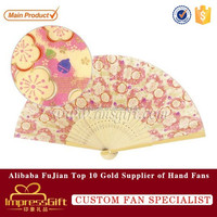 Chinese silk folding hand fan bamboo wedding party gifts