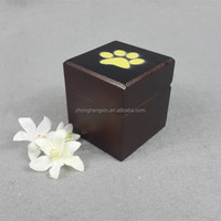 Mini size Paw print wood pet cremation urns for funeral