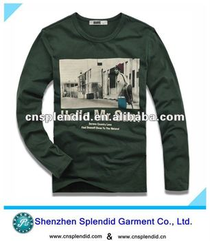 Custom OEM USA cotton long sleeve print t shirt for men